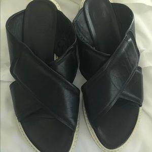 Tibi black criss cross sandals size 9
